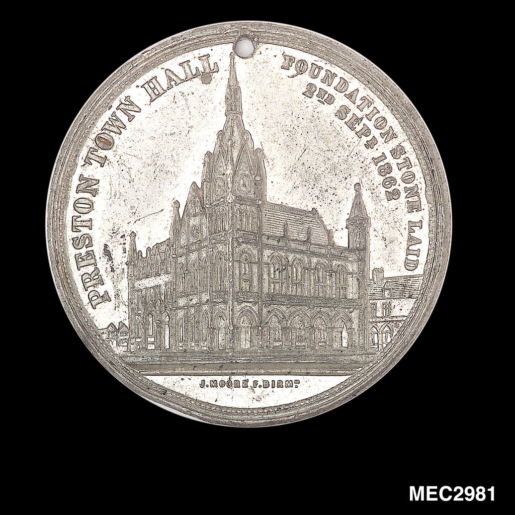 Detail of Commemorative medal depicting Preston town hall by John Moore