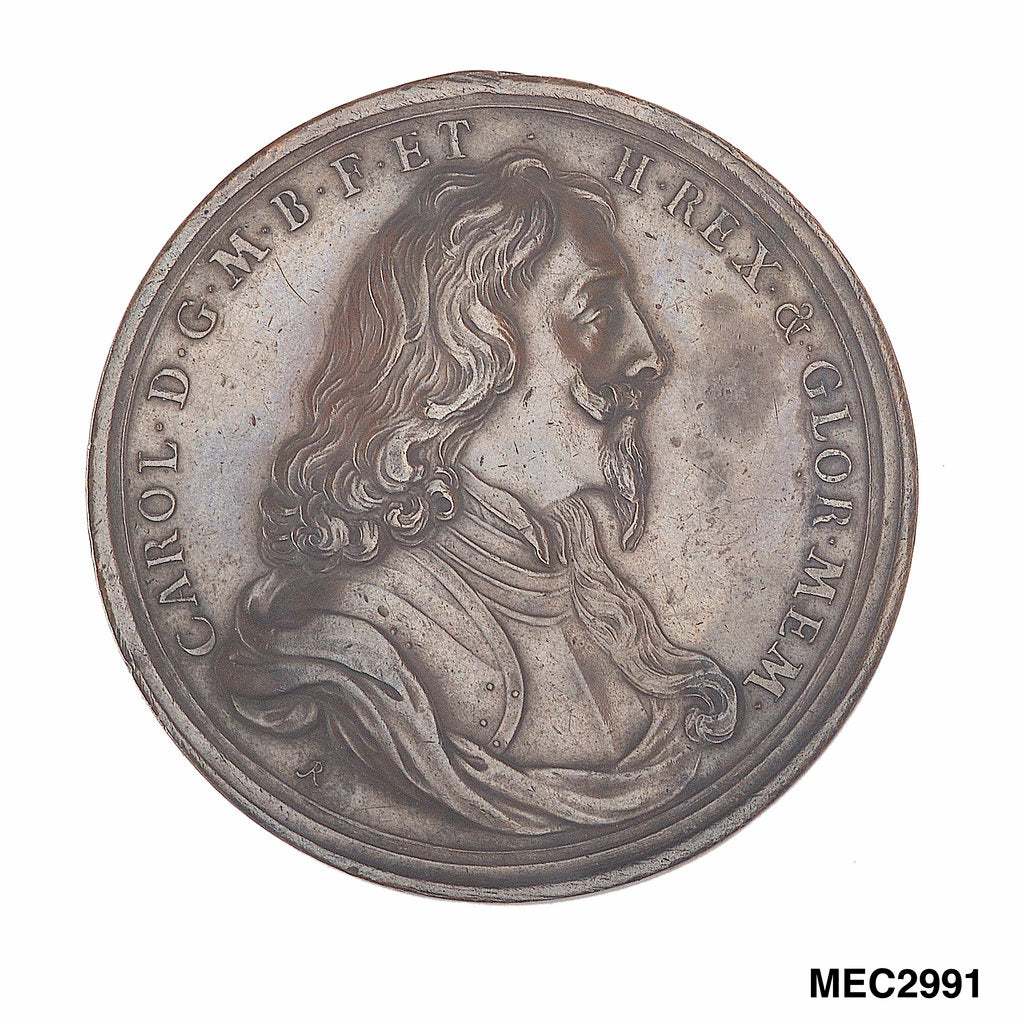 Detail of Commemorative medal depicting Charles I by John Roettier
