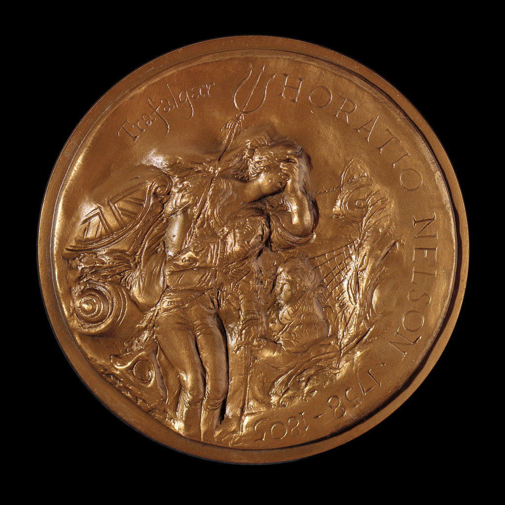 Detail of Medal commemorating Vice-Admiral Horatio Nelson (1758-1805) and Trafalgar by Ronald Searle