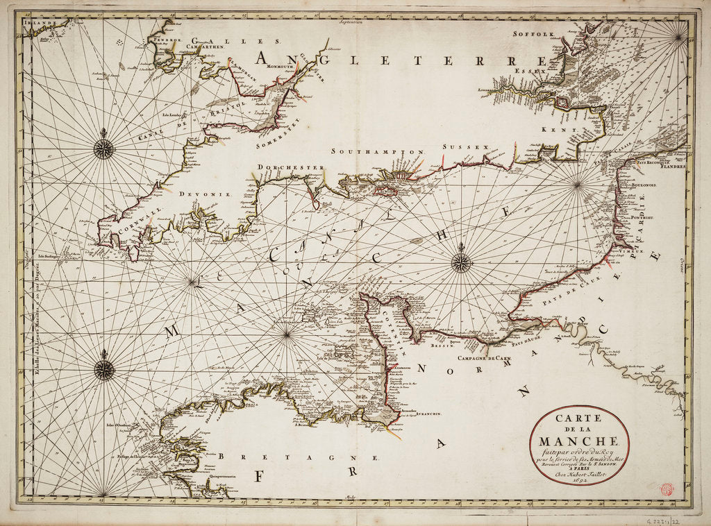 Detail of Chart of the English Channel and the Atlantic coasts of southern Britain and northern France by Nicolas Sanson