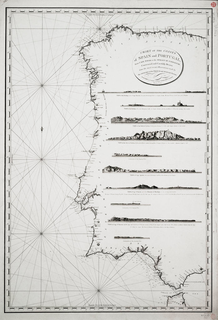 Detail of Chart of the coasts of Spain and Portugal, from Cape Pinas to the Strait of Gibraltar, constructed and carefully drawn from the most recent observations made by the officers of the French and Spanish navies by P Steel