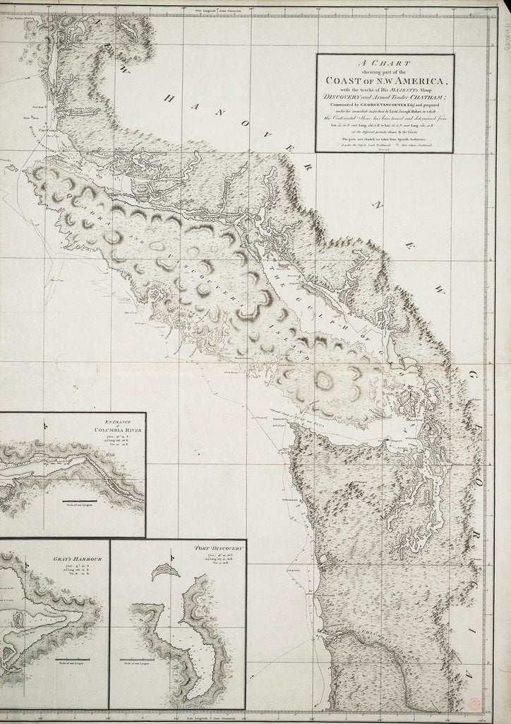 Detail of A chart showing part of the coast of north-west America by George Vancouver