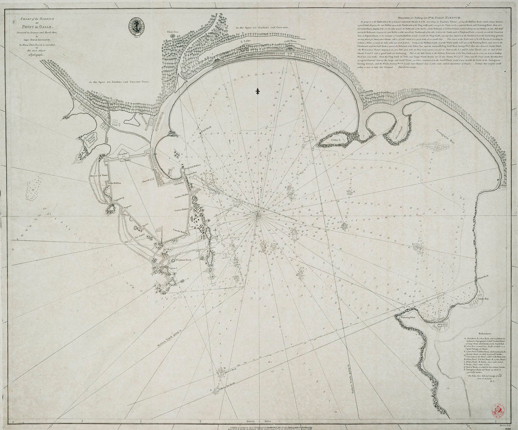 Detail of Chart of the harbour of Point de Galle. Surveyed in January and March 1800, by Captain David Inverarity. To whom this plate is inscribed, by his most obliged A.Dalrymple. by Alexander Dalrymple
