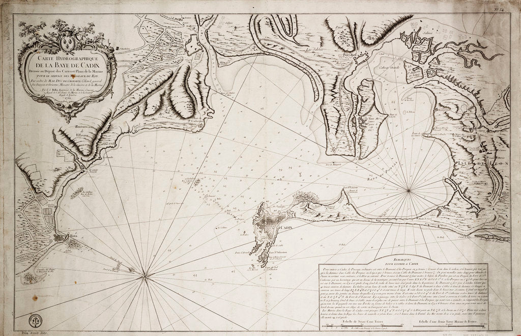 Detail of Hydrographic chart of the Bay of Cadiz by Jacques Nicolas Bellin