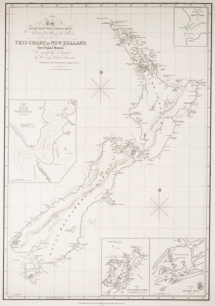 Detail of Secretary of State for the Colonies &c. &c. &c. this chart of New Zealand from original surveys is respectfully dedicated by his very obedient servant, Thomas Mc.Donnell, Lieut. R.N. by Thomas McDonnell