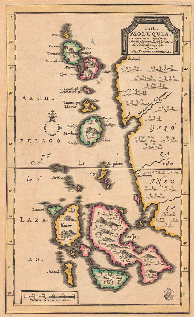 Map of the Molucca Islands (modern Indonesia) by Pierre van der Aa