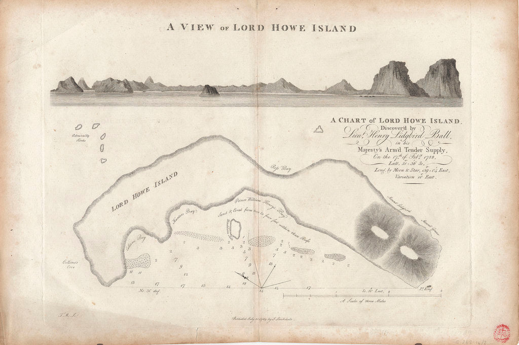 Detail of A chart of Lord Howe Island, 1788 by J. Stockdale