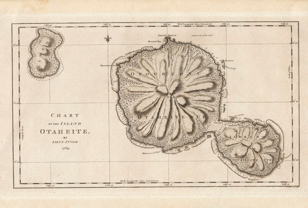 Detail of Chart of the Island Otaheite (Tahiti) by James Cook, 1769 by James Cook