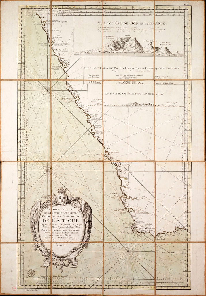 Detail of Map of the southwest of Africa, 18th century by Departement de la Marine