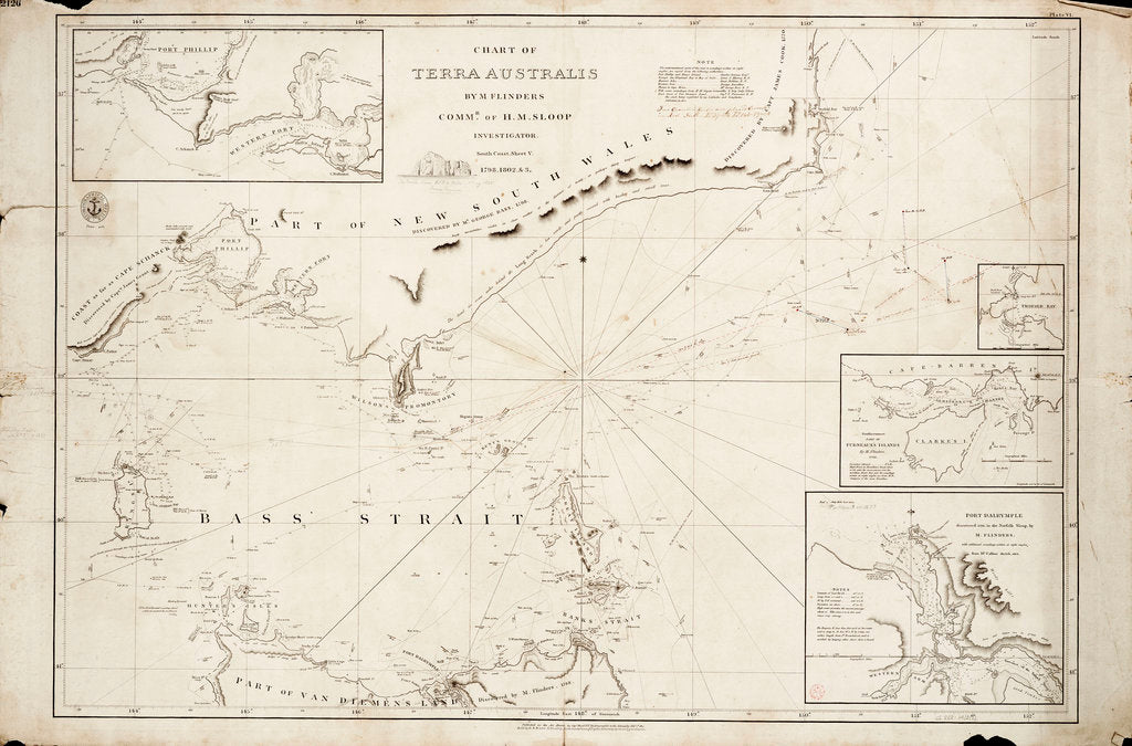 Detail of Chart of Bass Strait by Matthew Flinders, 1798 by Matthew Flinders