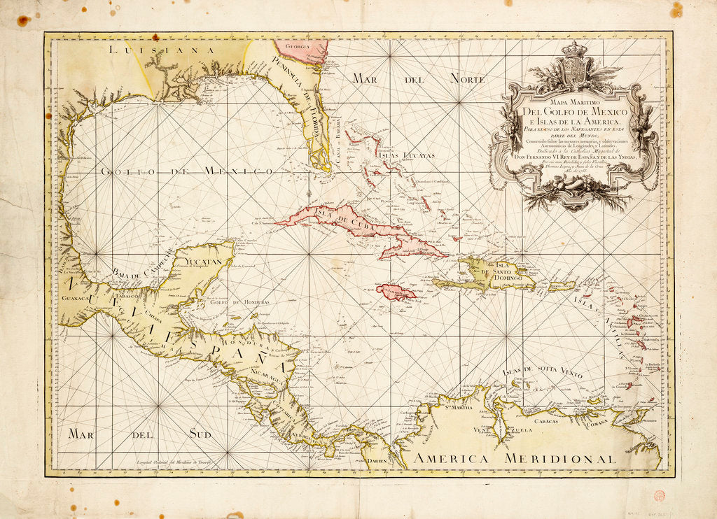 Detail of Gulf of Mexico chart by de la Cruz by Thomas Lopez