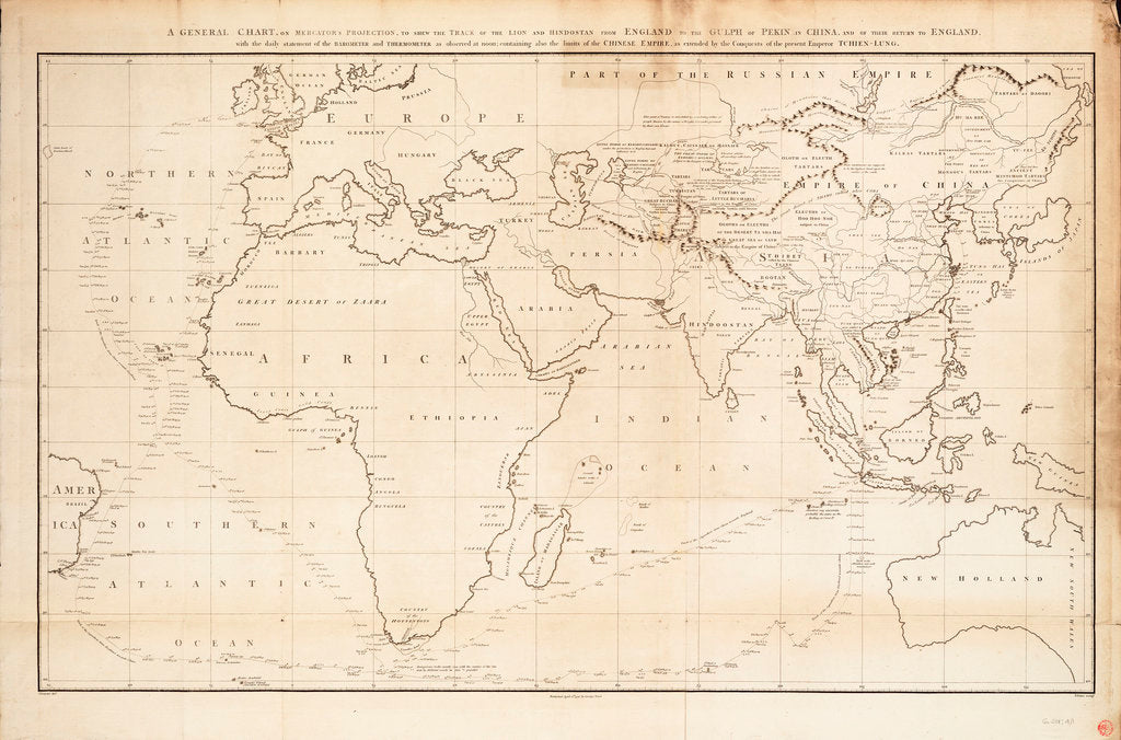 Detail of A general chart on Mercators projection to show the track of the 'Lion' and 'Hindostan' from England to the Gulph of Pekin in China and their return back to England by John Barrow