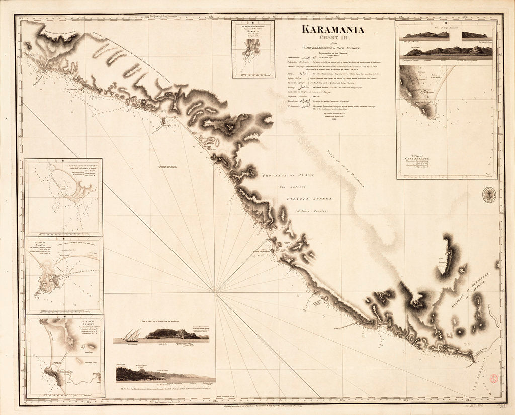 Detail of Karamania Chart III from Cape Karaboornoo to Cape Anamour by Francis Beaufort