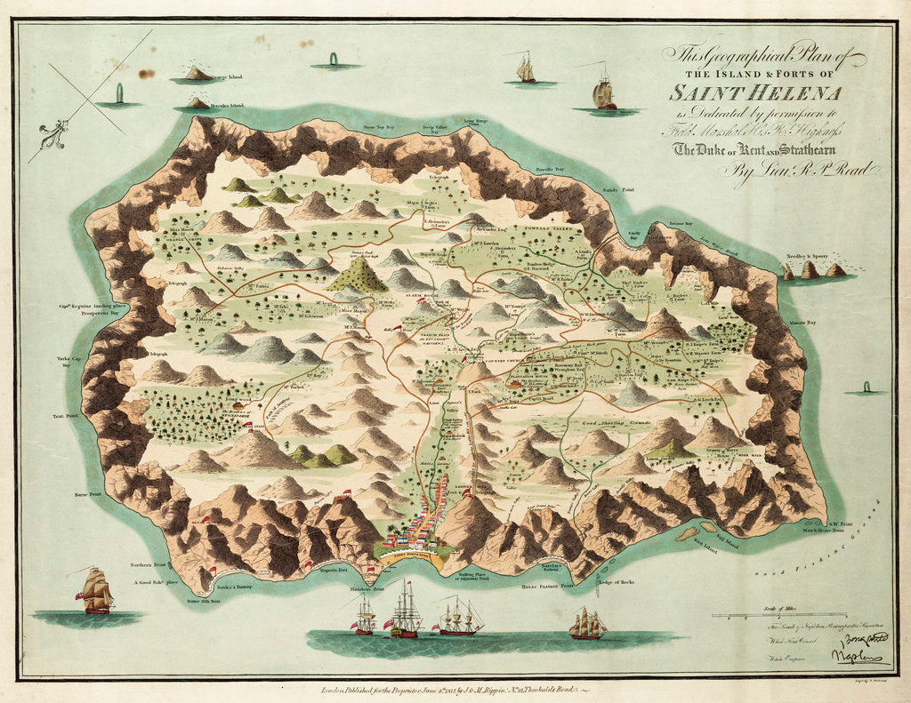 Detail of This geographical plan of the Island of Saint Helena is dedicated by permission to Field Marshal His Royal Highness the Duke of Kent and Strathearn by R.M. P. Read
