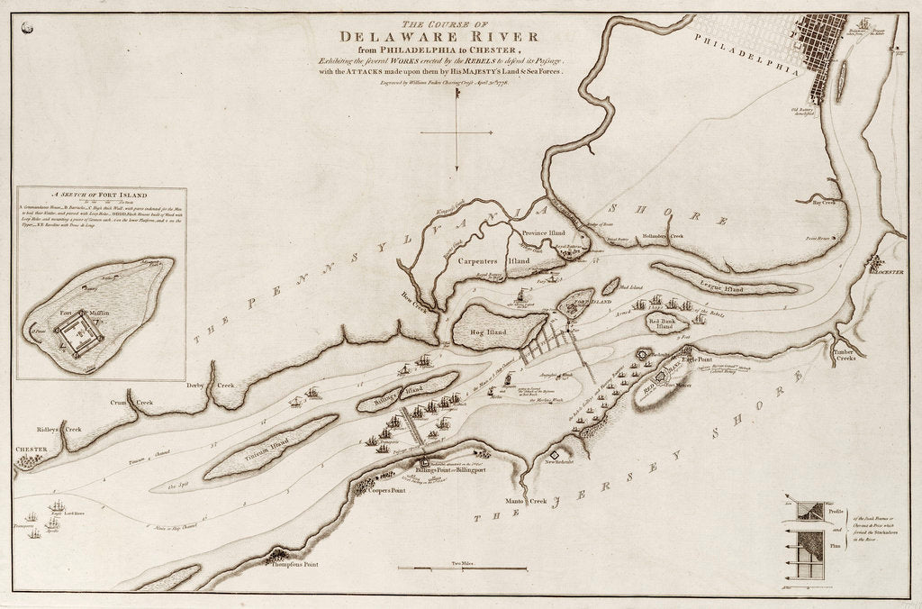 Detail of The course of Delaware River from Philadelphia to Chester, North America by Wiiliam Faden