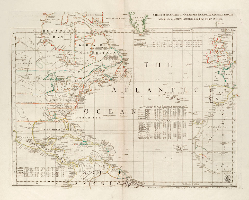 Detail of Chart of the Atlantic Ocean, with the British, French & Spanish settlements in North America and the West Indies by Thomas Jefferys