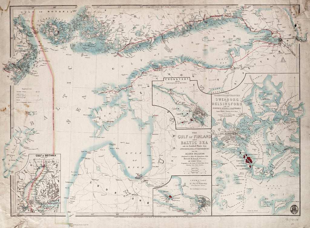 Detail of Chart of Gulf of Finland and Baltic by James Wyld