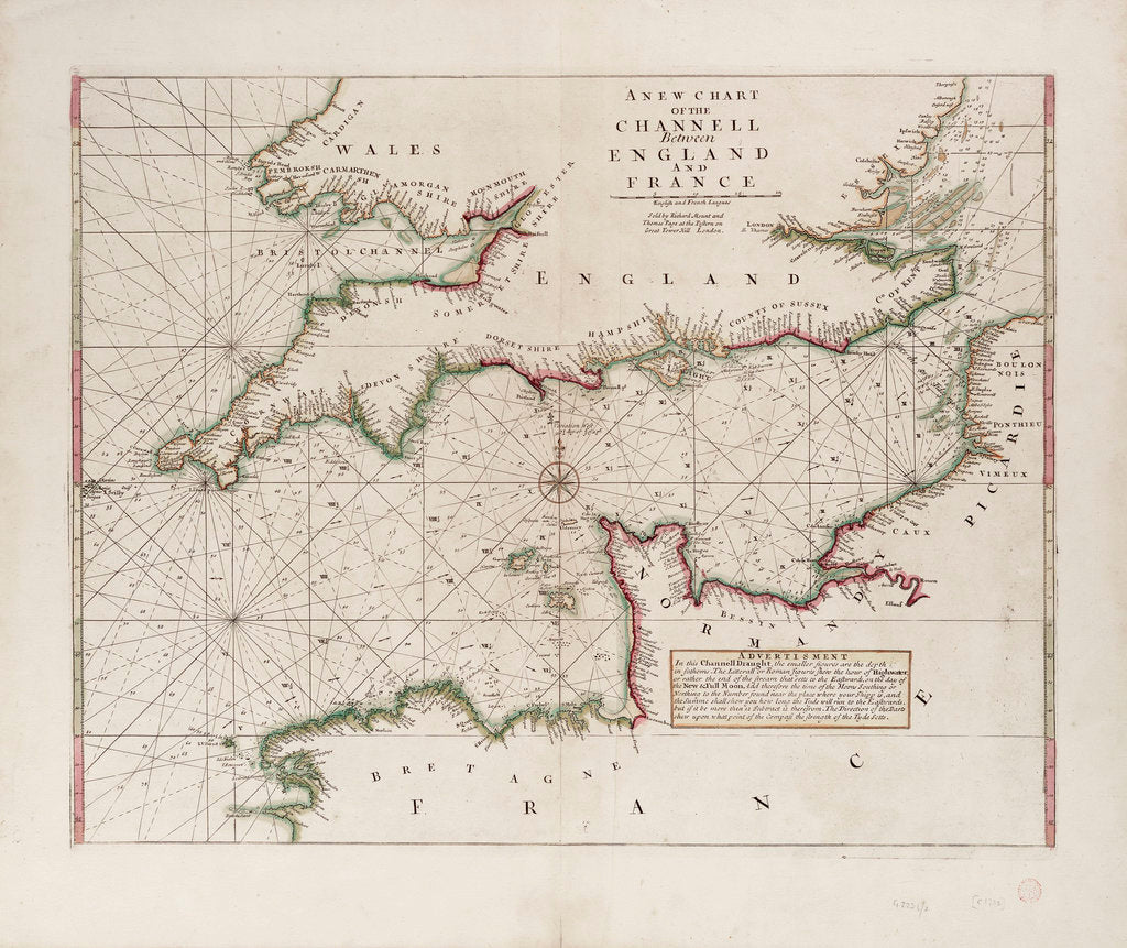 Detail of A chart of the Channel between England and France, 1702 by Mount & Page