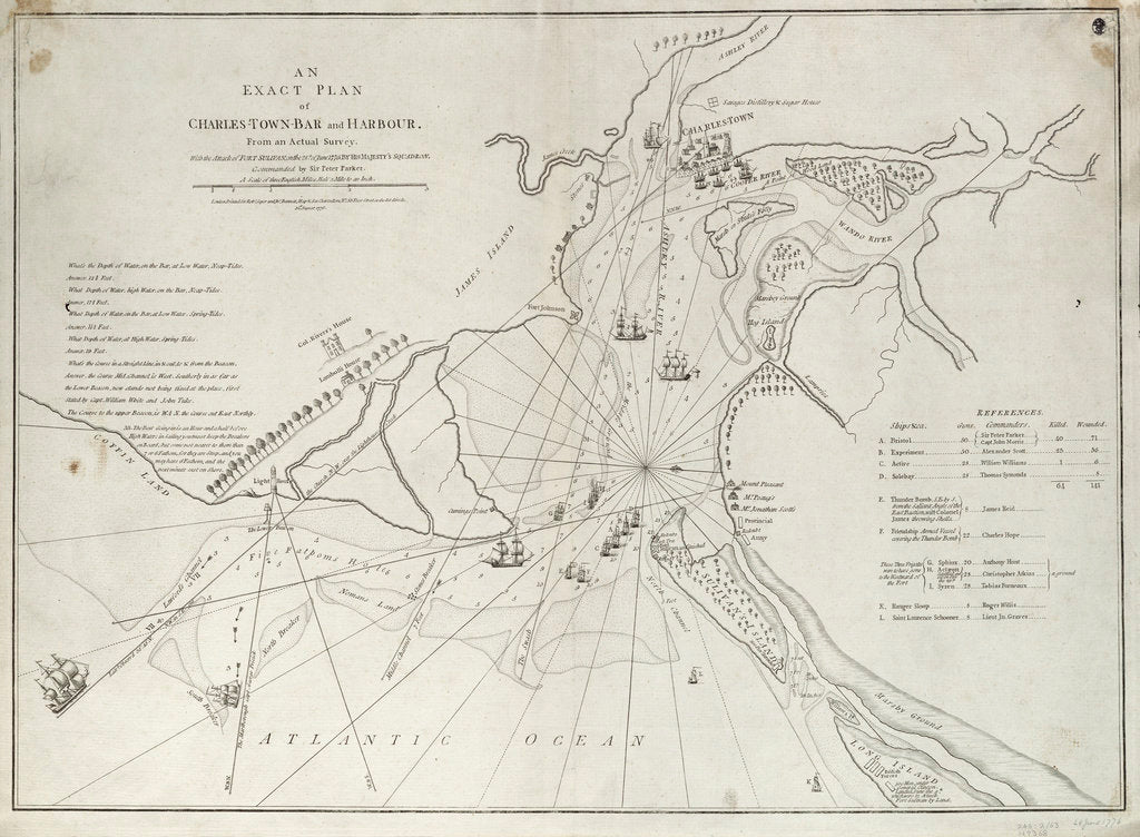 Detail of An exact plan of Charles Town bar and harbour, from an actual survey with the attack of Fort Sullivan, on the 28 June 1776, by His Majesty's squadron commanded by Sir Peter Parker by Sayer & Bennett