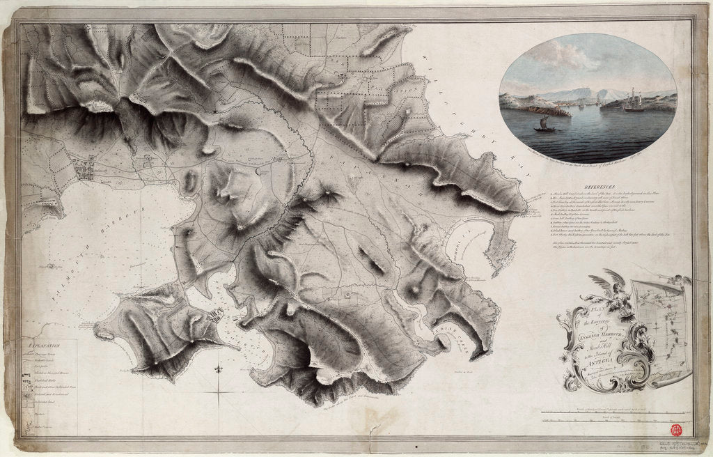 Detail of Plan of the environs of English Harbour and Monks Hill in the Island of Antigua surveyed and drawn by John Brown, surveyor and draughtsman to the army in the West Indies 1782 by John Brown