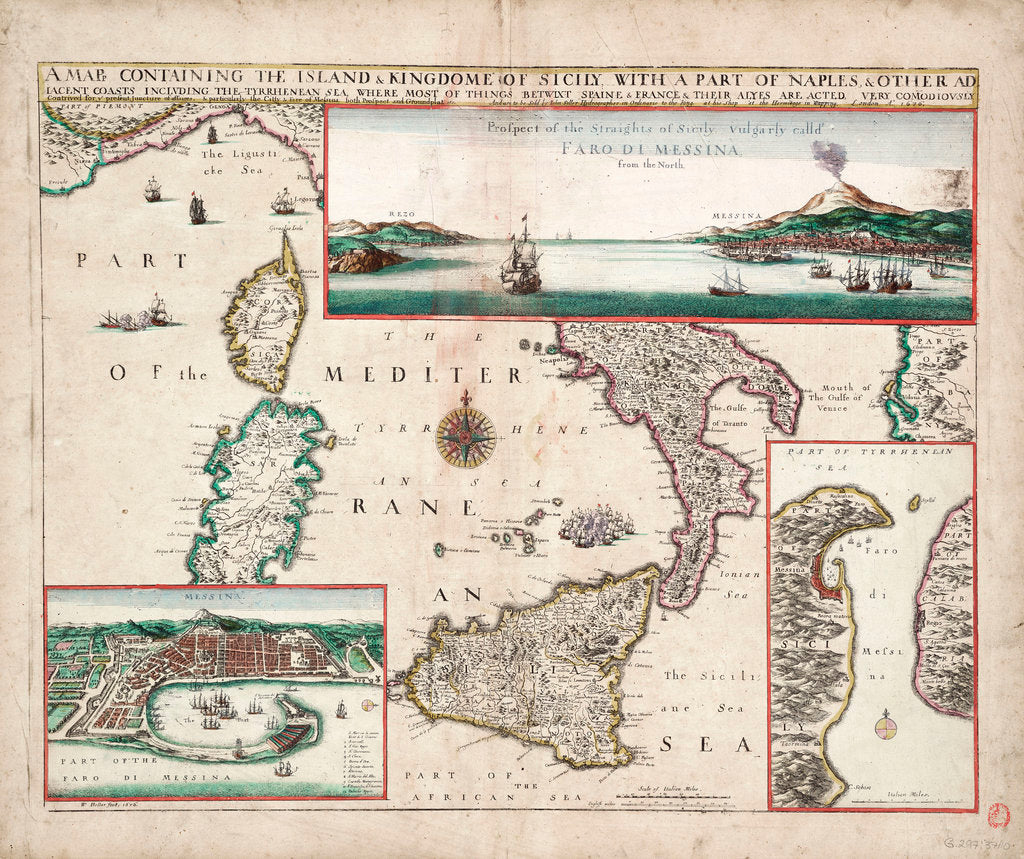 Detail of Map containing the island and kingdom of Sicily, with a part of Naples, and other adjacent coasts including the Tyrrhenean Sea by John Seller