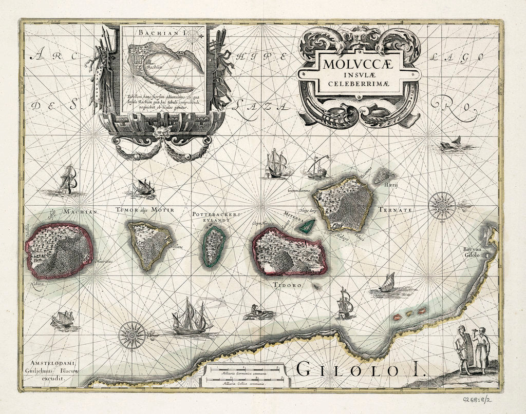 Detail of Chart of the Moluccas, Indonesia by Willem Blaeu