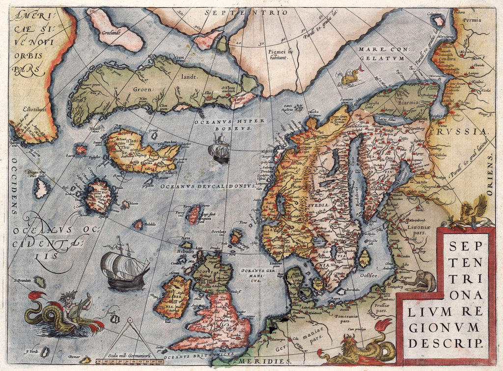Detail of Map of Europe by Ortelius, 16th century by Abraham Ortelius
