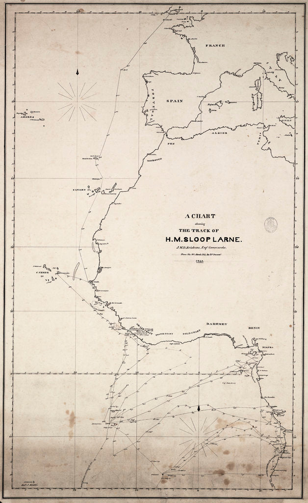 Detail of A chart showing the track of HM sloop 'Larne', J.W.D.Brisbane, Esq. Commander, from the 1 January 1846 to 27 June 1847 by J.W.D. Brisbane