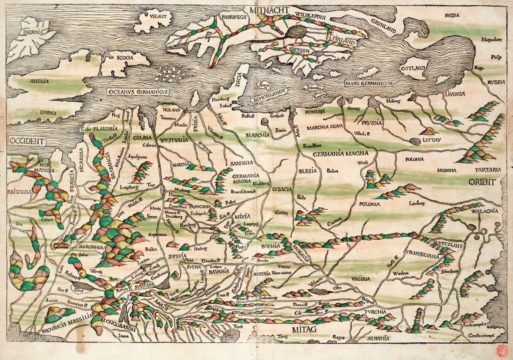 Detail of Map of central and northern Europe, 1493 by Hieronymus Munzer