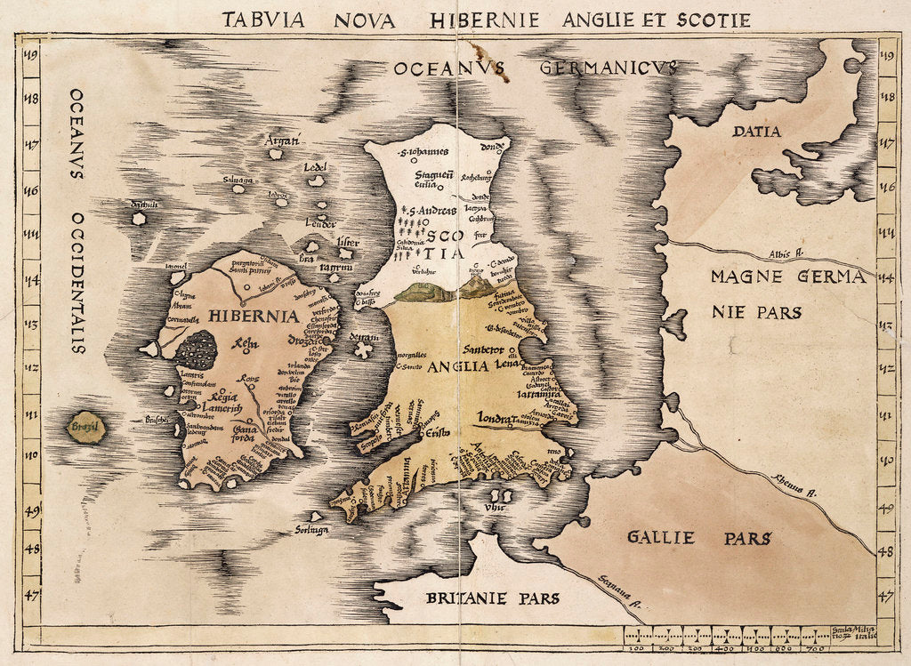Detail of Map of England, Ireland and Scotland by Ptolemy