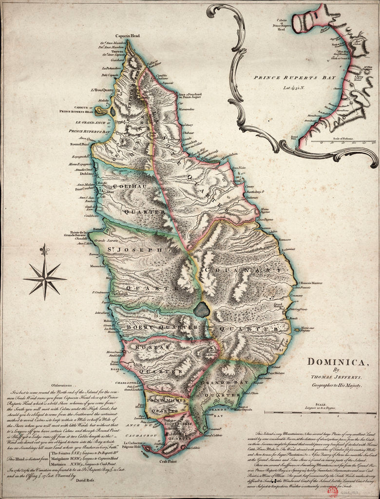 Detail of Colour map of Dominica with detailed geographical observations by Thomas Jeffereys