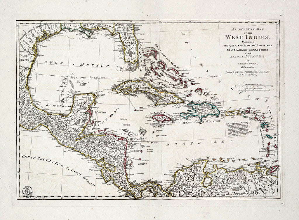 Detail of A complete map of the West Indies containing the coasts of Florida, Louisiana, New Spain and Terra Firma with all the islands by Samuel Dunn