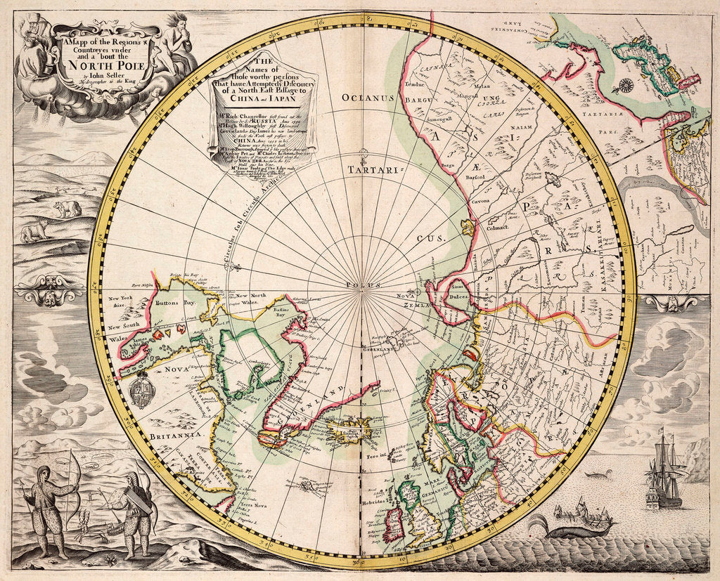 Detail of Polar projection map with Arctic Circle by John Seller
