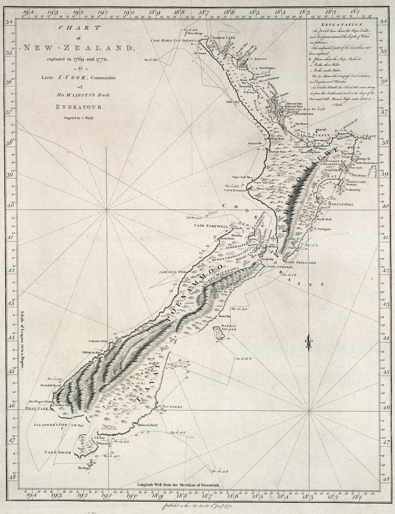 Chart of New Zealand, explored in 1769 and 1770 by Lieutenant J.Cook, Commander of His Majesty's Bark Endeavour by James Cook