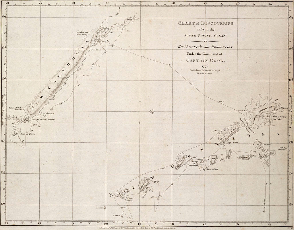 Detail of Chart of discoveries made in the South Pacific Ocean in his majesty's ship 'Resolution' under the command of Captain Cook by James Cook