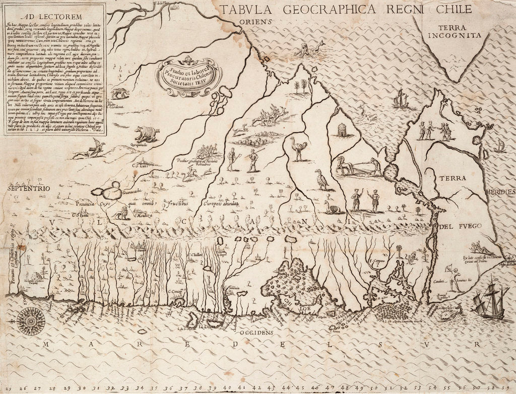 Map of Chile compiled by Jesuits, 1646 by Society of Jesus