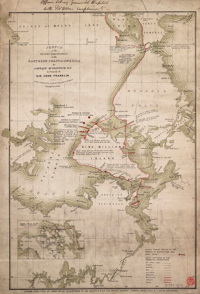 Detail of Sketch of discoveries on the northern coast of America by Captain McClintock RN in search of Sir John Franklin by James Wyld