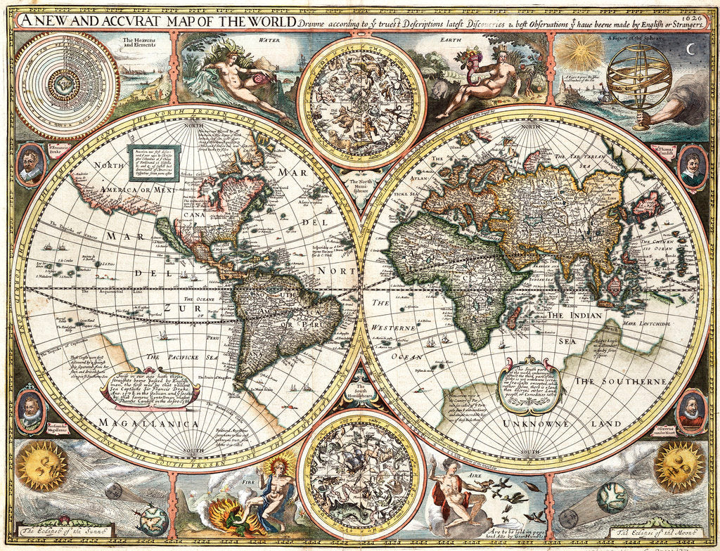 Detail of 'A new and accurate map of the world' by John Speed, 1626 by John Speed