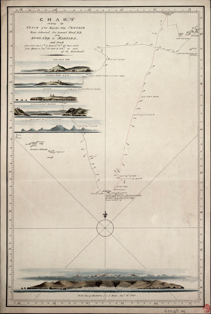 Detail of Chart showing the track of His Majesty's ship 'Centaur' (1797) from England to Madeira and back by Anonymous