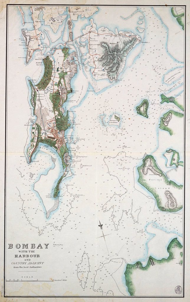 Detail of Map of Bombay with the harbour and country adjacent, also shown Arabian Sea and Persian Gulf by unknown