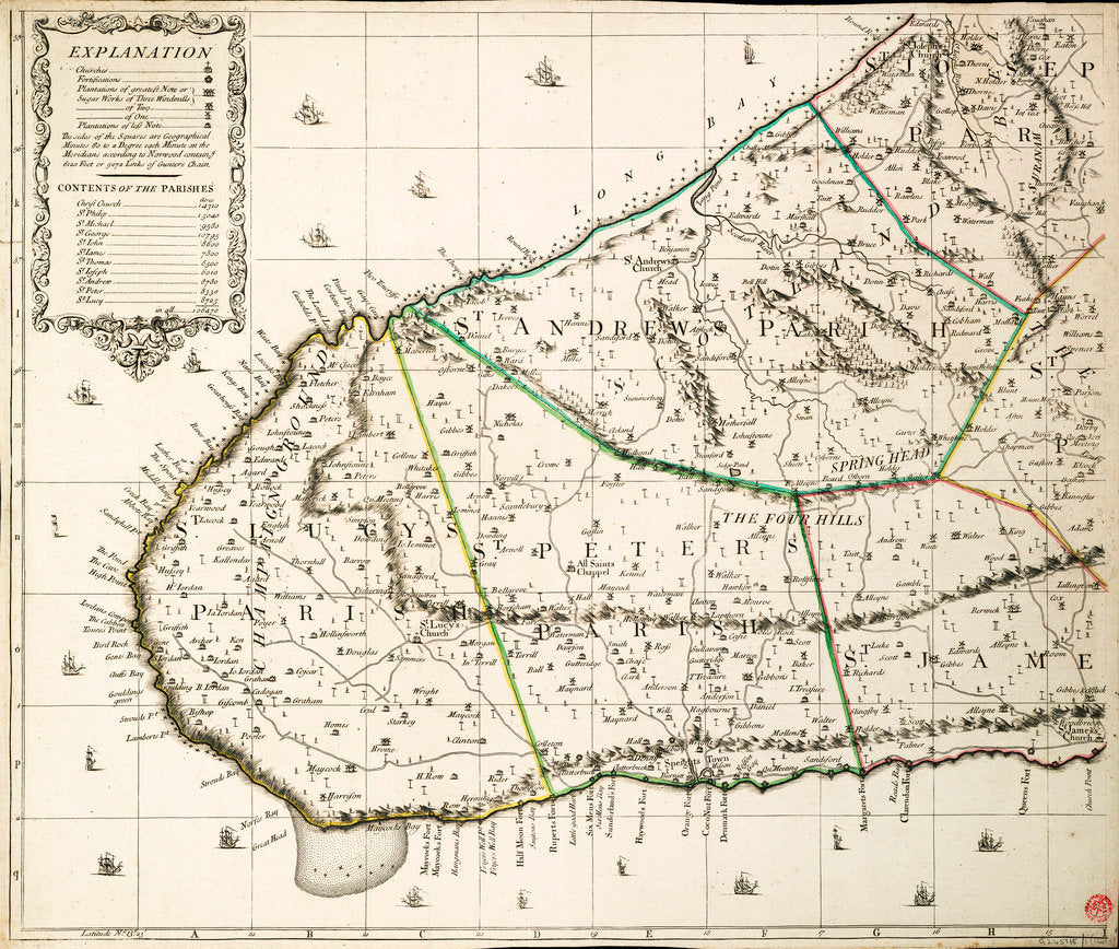 Detail of A new & exact map of the island of Barbados in America according to survey made in the years 1717 to 1721 by William Mayo. by William Mayo