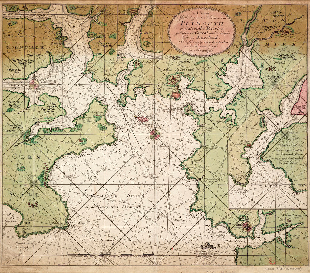 Detail of Chart of Plymouth Sound, from Greenville Collins's 1693 chart of the English Channel by Gerard van Keulen