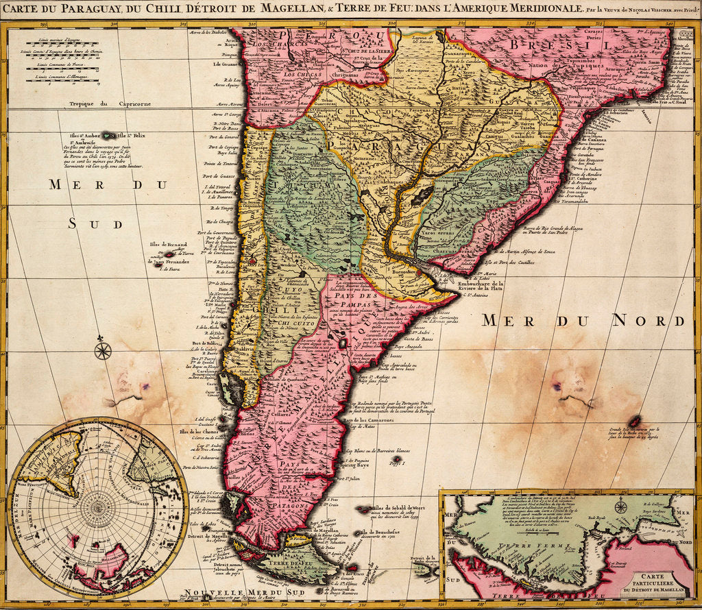 Detail of Chart of Paraguay, Chile, Straits of Magellan and Tierra del Fuego in South America by Nicholas Visscher
