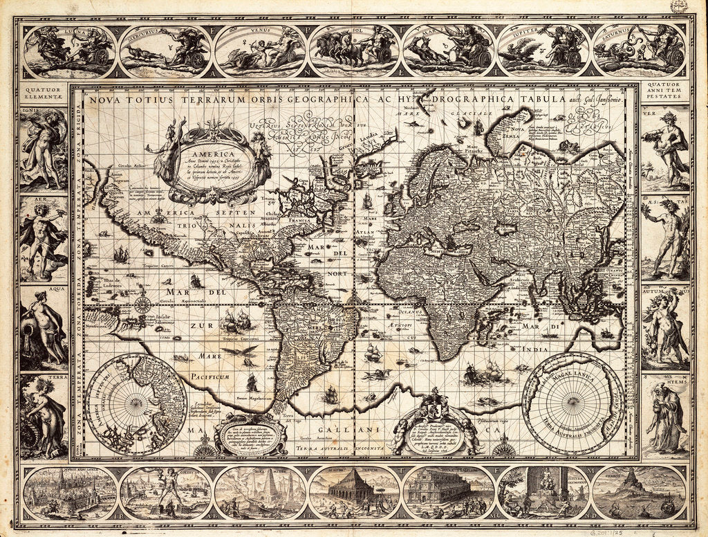 Detail of Mercator map of the world, 1606 by W.J. Blaeu