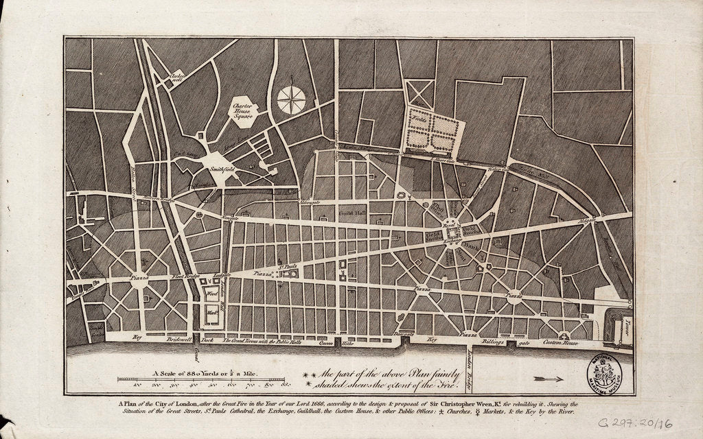 Detail of Plan of the City of London after the Great Fire of 1666 by Christopher Wren