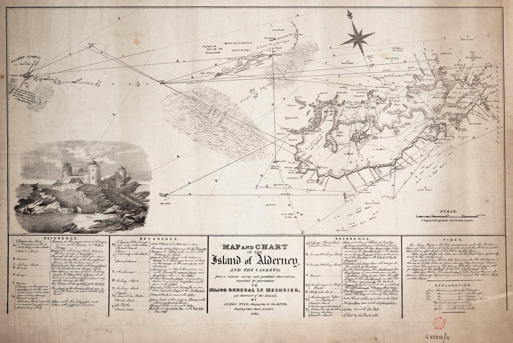 Detail of Map and chart of the Island of Alderney and the Caskets by James Wyld