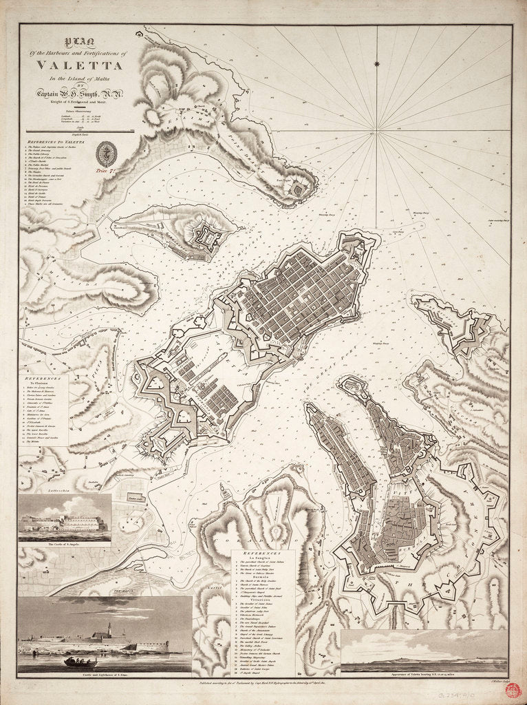 Detail of Plan of the harbours and fortifications of Valetta in the island of Malta by W.H. Smyth