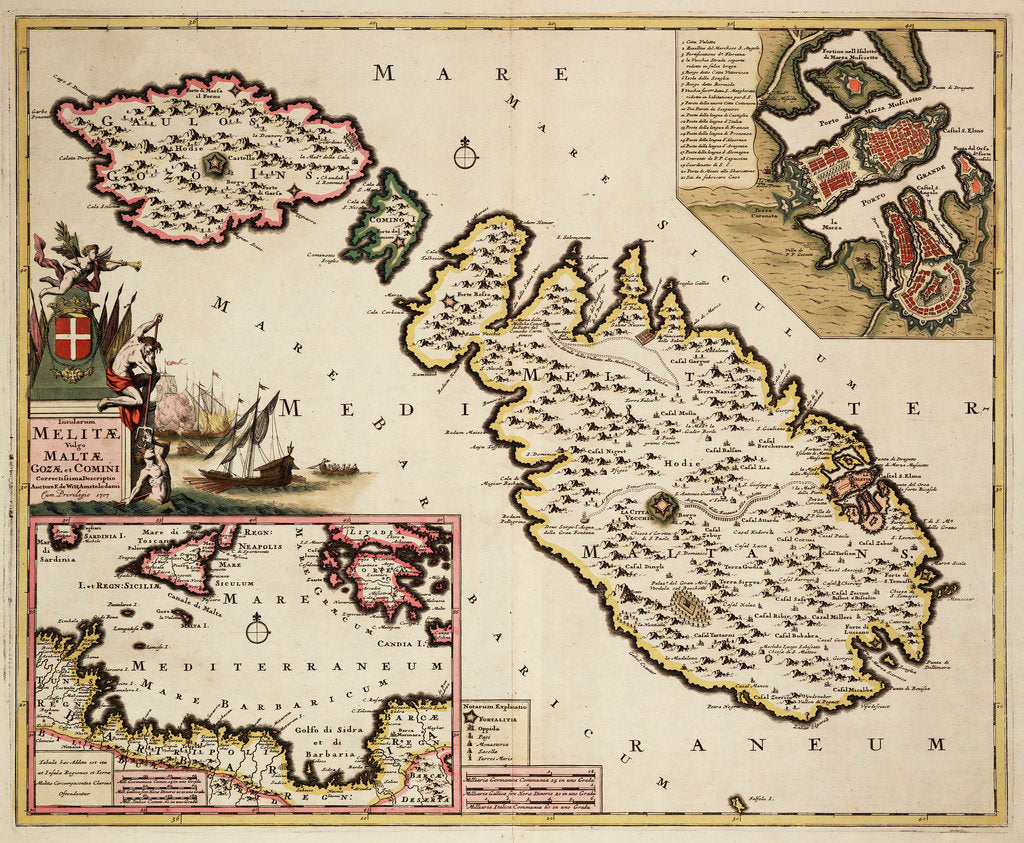 Detail of Map of Malta, Gozo and Comino by Frederik de Wit