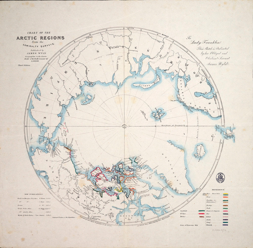 Detail of Chart of the Arctic regions from the Admiralty surveys, third edition by James Wyld