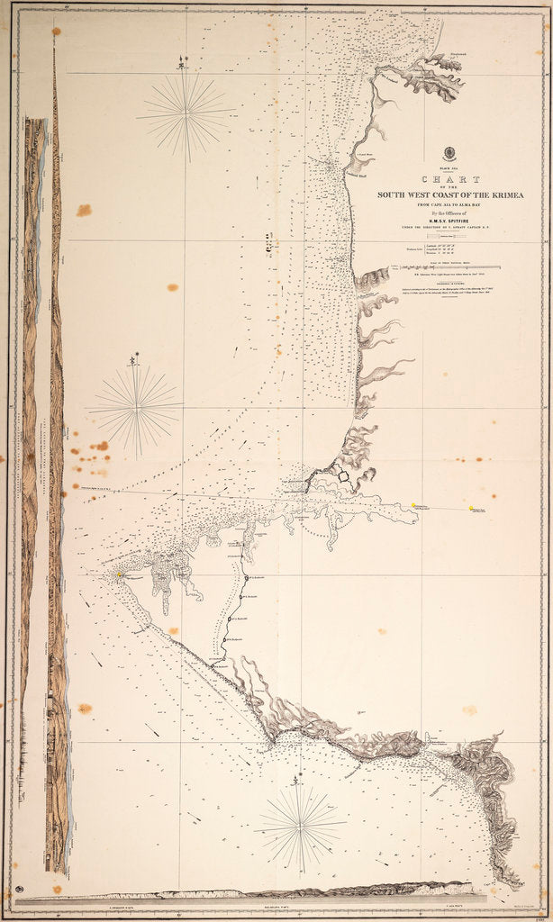 Detail of Black Sea, chart of the South-West Coast of the Krimea from Cape Aia to Alma Bay. By the officers of H.M.S.V. Spitfire. by Malby & Sons